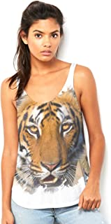 Fierce Tiger Face Women's Printed Scoop Neck, Flowy Tank with Side Slit with Unique Design