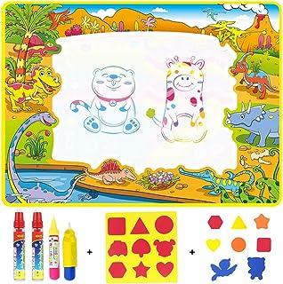 Anjetan Kids Water Doodle Drawing Mat Set Reusable Educational Funny Water Writing Mat Water Painting Mat Doodle Drawing P...