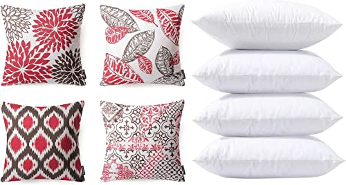 high quality Phantoscope Bundles, Set of 4 New Living Series Red and Coffee outlet sale Pillow wholesale Covers 18 x 18 inches & Set of 4 Pillow Inserts 18 x 18 inches outlet online sale