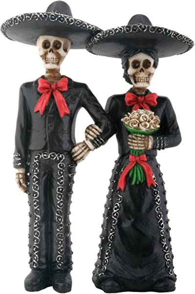 Mariachi Skeleton Couple Holding Hands