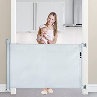"""Retractable Baby Gate, Extra Wide Safety Baby Gate 34"""" Tall, Extends to 59"""" Wide Mesh Safety Indoor Gate for Babies and Pe..."""