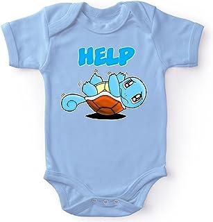 Okiwoki Body bébé Manches Courtes Garçon Bleu Parodie Pokémon - Carapuce - Help !!!(Body bébé de qualité supérieure - imp...