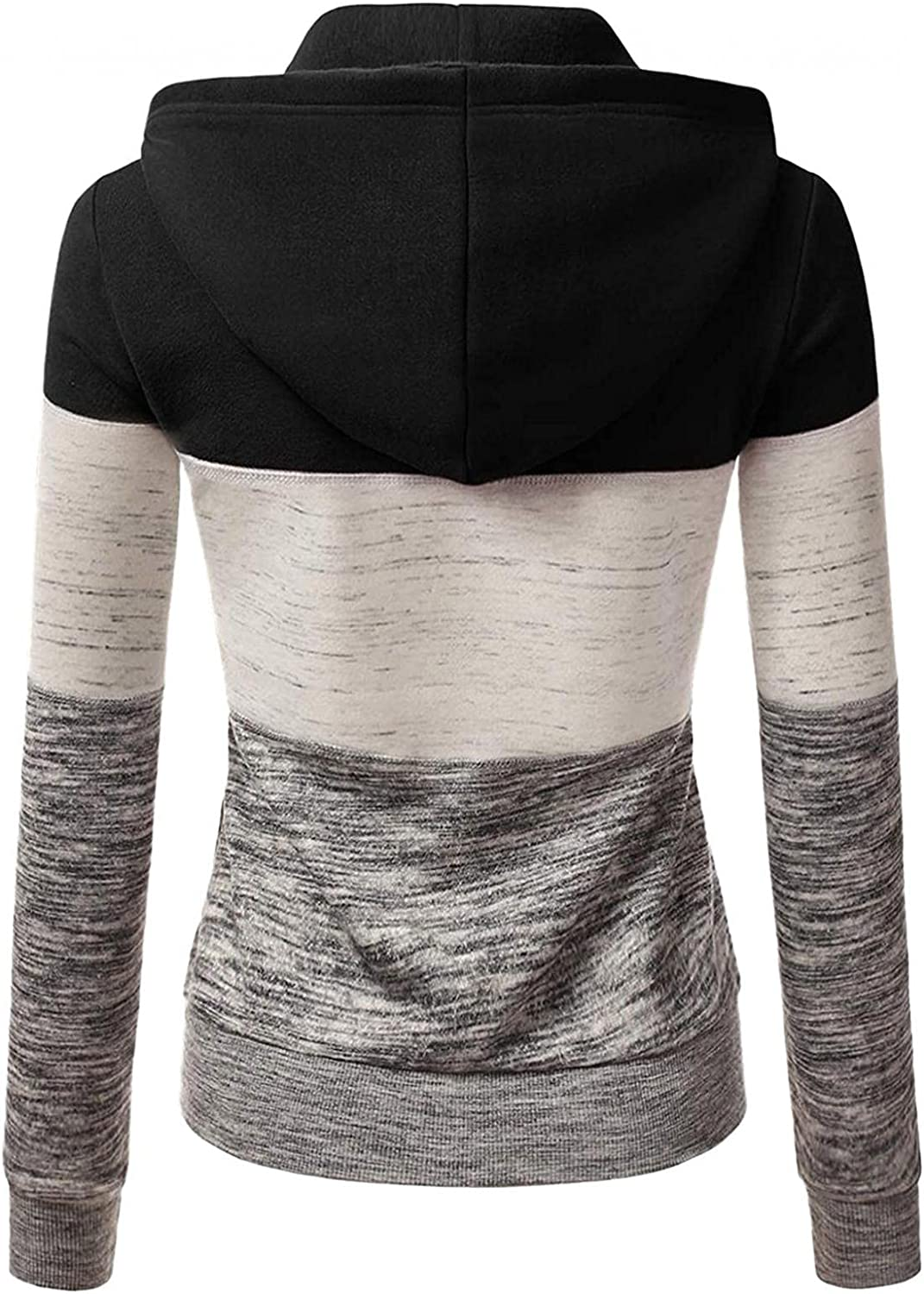 Fudule Zip Up Hoodies for Women, 2021 Fashion Lightweight Full-Zip Outerwear with Drawstring Coat Casual Slim Fit Jacket