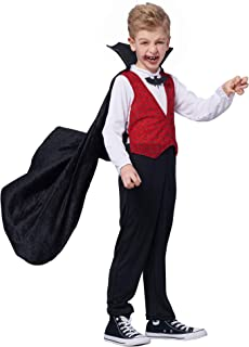 Sponsored Ad - IKALI Boys Girls Vampire Costume, Kids Halloween Dracula with Cape Fancy Dress