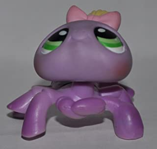 Spider #136 (Purple, Pink Bow, Yellow Hair) - Littlest Pet Shop (Retired) Collector Toy - LPS Collectible Replacement Single Figure - Loose (OOP Out of Package & Print)