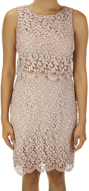 Betsy & Adam bluesh Glitter Lace CropTop Sheath Dress 6