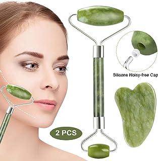 comprar comparacion Rodillo de Jade, Aiemok Facial Masaje Piedra Gua Sha Jade, Natural Jade Roller Antienvejecedor Belleza Natural Dispositivo...