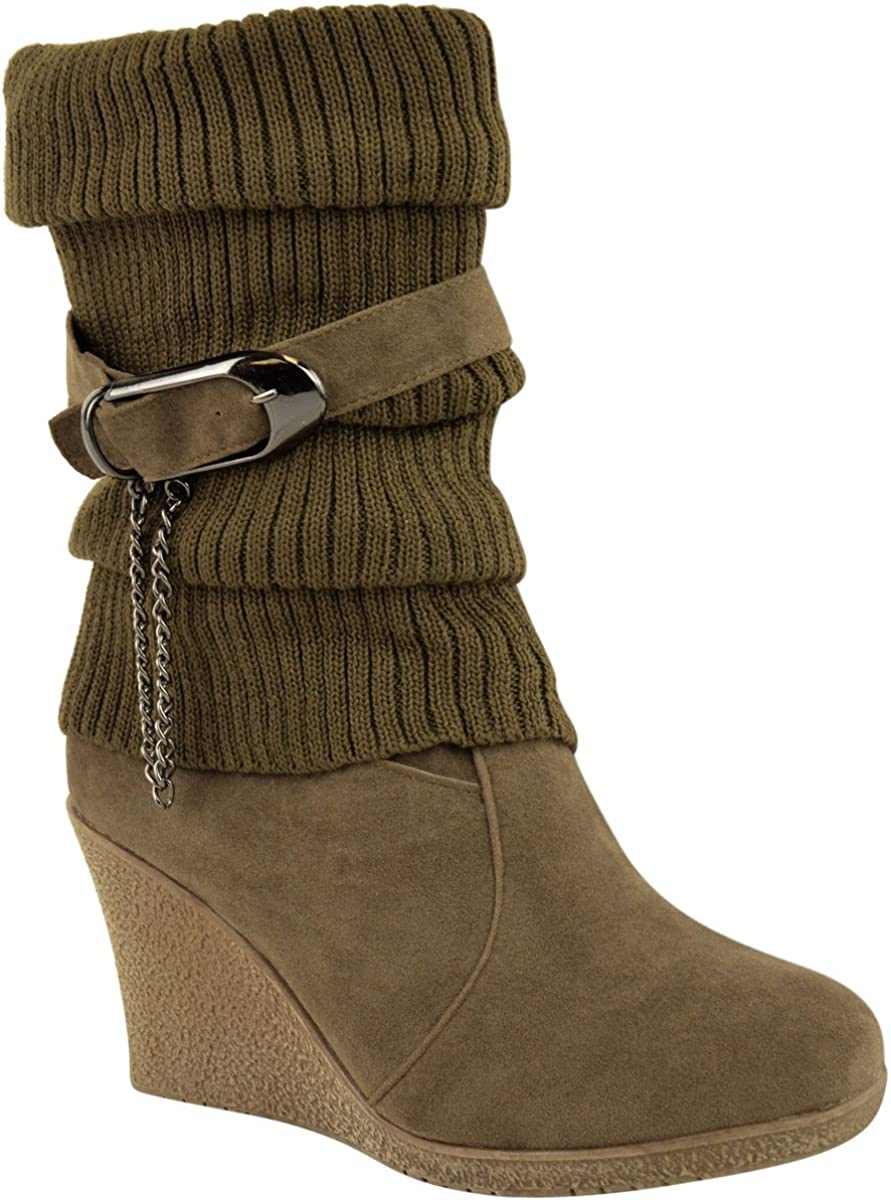 Fashion Thirsty Womens Mid High Wedge Heel Knitted Warm Winter Slouch Biker Knee Calf Ankle Boots Size 8