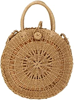 EROUGE Natural Chic Straw Bag Hand Woven Round Handle Handbags Retro Summer Beach Bag Beach Bag
