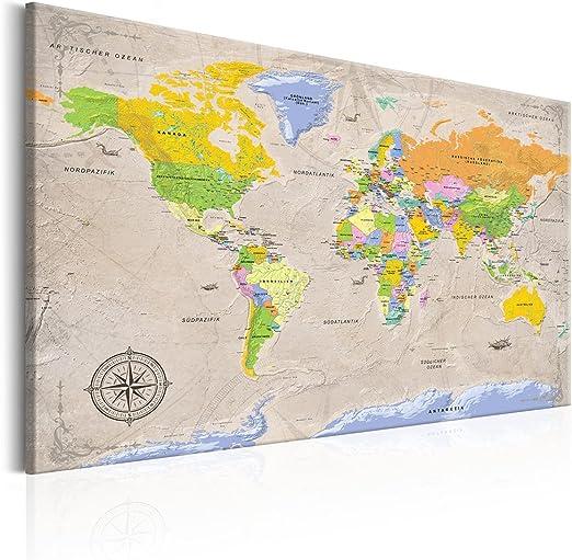 Bild Kunstdruck Wandbild Markenware 1587 D 120x80 2 Weltkarten Leinwand aufgesp