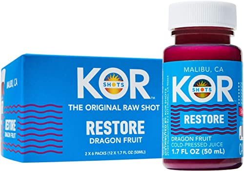 KOR Shots Dragon Fruit Shot - 12 Pack x 1.7 Fl Oz - Restore - Pink Dragon Fruit with Superfood Properties Restore You...