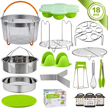 Compatible with 5 Egg Rack 8 qt Springform Pan Steamer Basket 6 LuxFlo Instant Pot Pressure Cooker Accessories Set 5 pc Egg Bite Mold Tongs