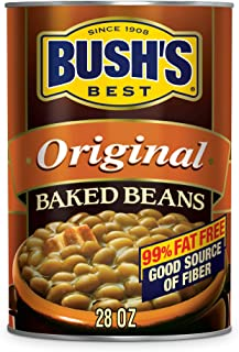 BUSH'S BEST Canned Original Baked Beans (Pack of 12), Source of Plant Based Protein and Fiber, Low Fat, Gluten Free, 28 oz