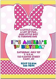Pink Minnie Baby Birthday Party Invitations