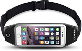 uFashion3C Running Belt Waist Pack for Phone, fits iPhone Xs Max XS X 8 7 6S 6 Plus, Galaxy S9 S8 Plus,S7 Edge, Note 9, 8, 5 - Water Resistant Reflective Fitness Workout Fanny Pack for Men and Women