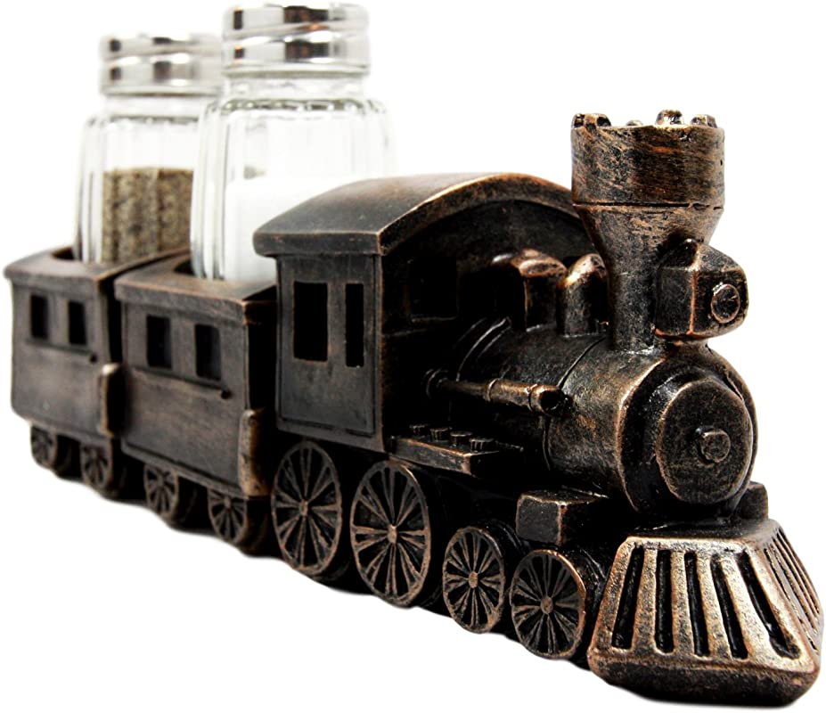 Ebros Gift Bronzed Resin Railroad Express Locomotive Train Salt Pepper Shakers Holder Figurine Set 8 5 L Trains Locomotives Choo Choo Carriage Kitchen Spice Rack Decorative Storage Organizer