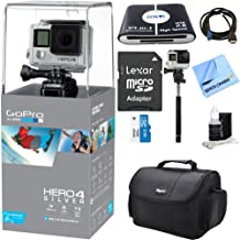 GoPro HERO4 Silver Edition Action Camera Bundle with Camera Bag for DSLR and Mirrorless Cameras, 32GB Memory Card, Telescopic 43 inches Selfie Stick and HDMI Cable