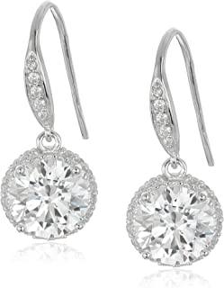 """Rhodium Plated Sterling Silver""""Clarion"""" Round White Cubic Zirconia 8mm Dangle Earrings"""