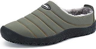 SMajong Hiver Chaussons en Peluche Chaud Pantoufles de Maison Intérieur Imperméables Mules Accueil Slippers Outdoor Coton ...