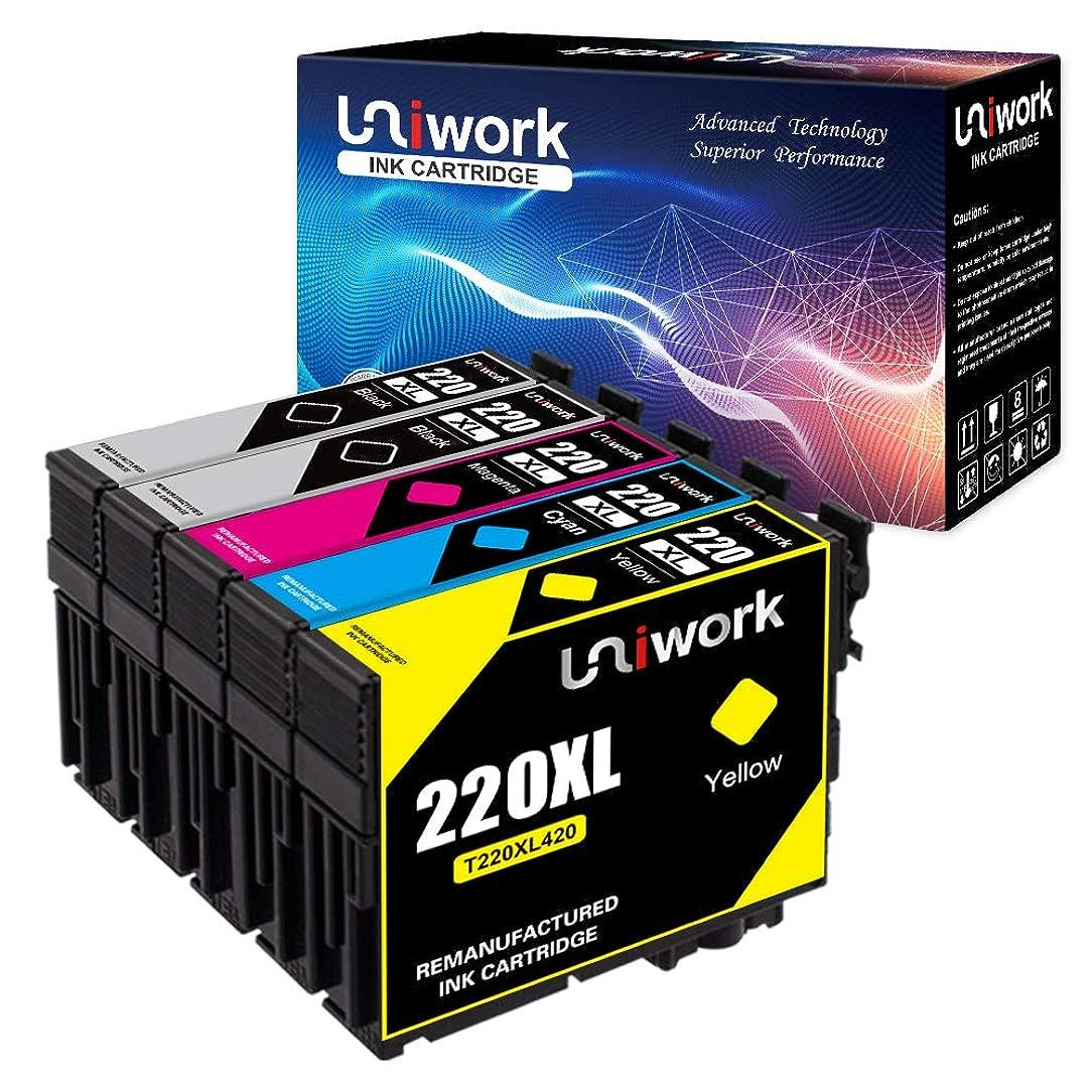 Uniwork Remanufactured Ink Cartridge Replacement for Epson 220 220XL T220XL use for WorkForce WF-2760 WF-2750 WF-2630 WF-2650 WF-2660 XP-320 XP-420 Printer (2 Black 1 Cyan 1 Magenta 1 Yellow), 5 Pack