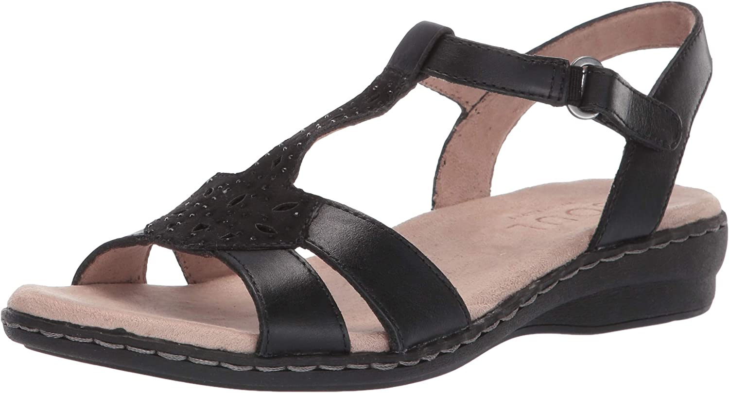 SOUL Naturalizer Women's Bliss Sandal, Black Leather, 9.5 W US