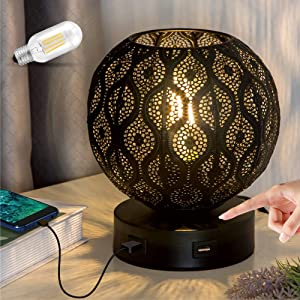 Lifeholder Bedside Lamp, Modern Globe Touch Lamp with Dual USB Ports, 3 Way Dimmable Table Lamp Include Edison Bulb, Decorative USB Lamps for Bedroom,Living Room,Office (Black)