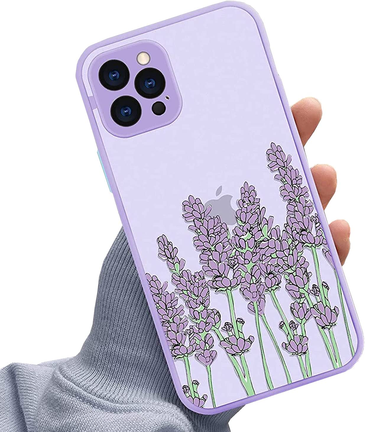 KANGHAR for iPhone 12 Pro Max Case with Screen Protector, Matte Full Body Shockproof Protective Floral Girls Women Hard Case with TPU Bumper Cover Phone Case for iPhone 12 Pro Max, Purple Lavender