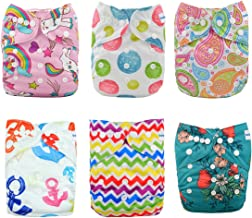 Babygoal Baby Cloth Diapers, One Size Reusable Washable Pocket Nappy, 6pcs Cloth Diapers+6 Microfiber Inserts+4pcs Bamboo Inserts,Girl color 6FG28 - coolthings.us