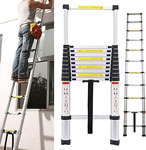 Telescoping Ladder 10.5 FT Extension Telescopic Ladders 3.2m Lightweight Aluminum Portable Multi-Use in Home Attic & RV Work Retractable Collapsible Folding 12 Steps EN131 Certificated 330lbs Capacity