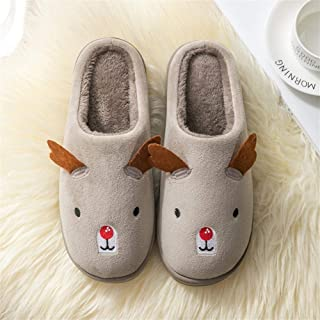 Cotton Slippers Female Winter Couple Cute Cartoon Home Cotton Mop Men's Indoor Non-Slip Thick Cotton Slippers Warmer Soft Plush Home Shoes (Color : Coffee, Size : 36-37)