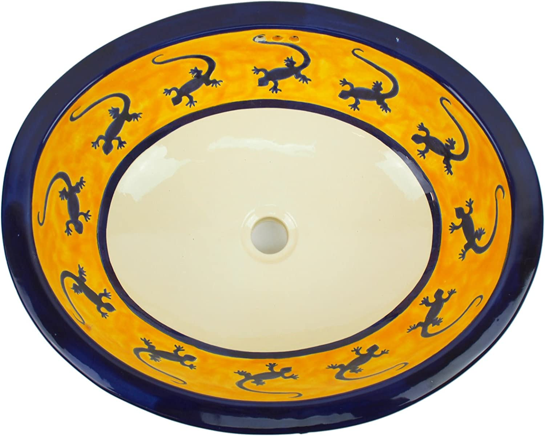 XL-Waschbecken, Motiv  Gecko, Keramik, handbemalt, Mae 53x45cm