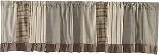 VHC Brands Farmhouse Kitchen Window Curtains-Sawyer Mill Patchwork Valance, 19x90, Charcoal Grey