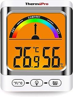 ThermoPro TP52 Higrómetro Termómetro Digital Medidor de Temperatura y Humedad Ambiente Interior Termohigrómetro con Retroi...