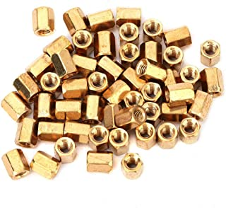 Printed Circuit Board Spacer, 50 Pcs Brass M3x6mm Hollow Double Pass Printed Circuit Board Standoff Hex Spacer