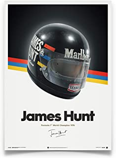 Automobilist James Hunt - Helmet - 1976 - Unique Design Poster - Standard Poster Size 19 ¾ x 27 ½ Inch