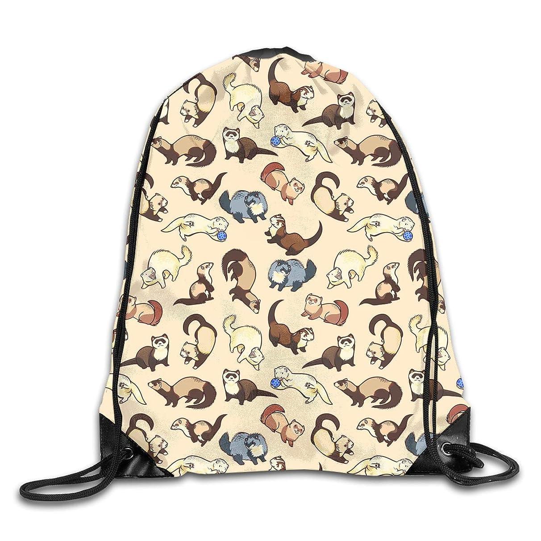 Adorable Ferret Pattern Men & Women Sport Gym Sack Dancing Bag Drawstring Backpack For Beach Hiking Travel Bags