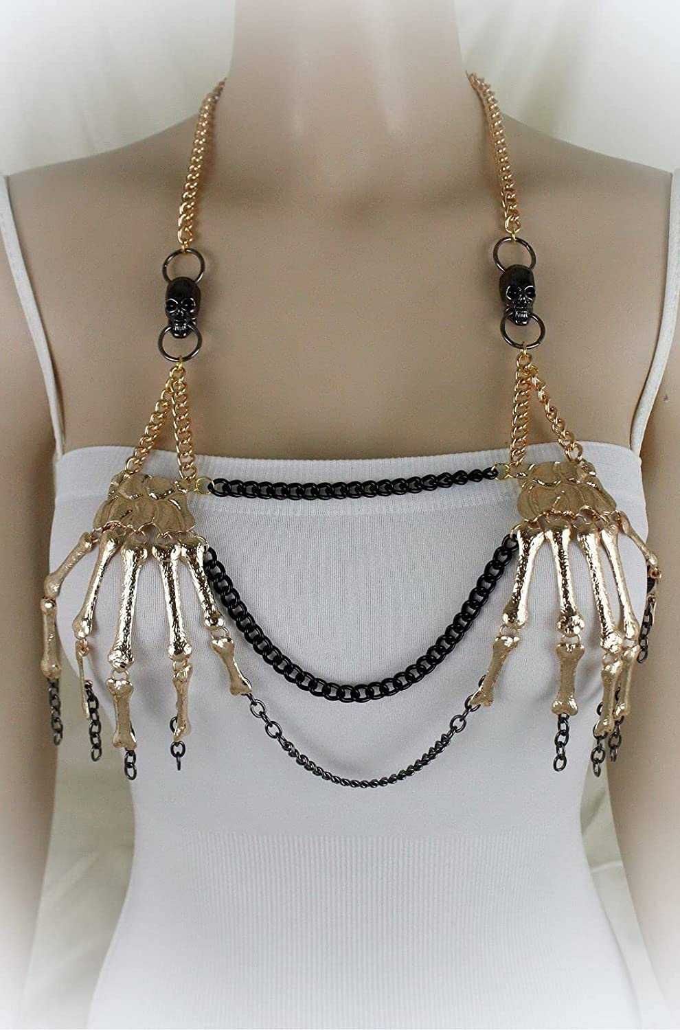 Women Max 87% OFF Gold Metal Body Chains Skeleton Long Neckla Skulls Jewelry Indefinitely