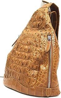 Authentic M Crocodile Skin Womens Hornback Bag Backpack Cross Body Tan Handbag
