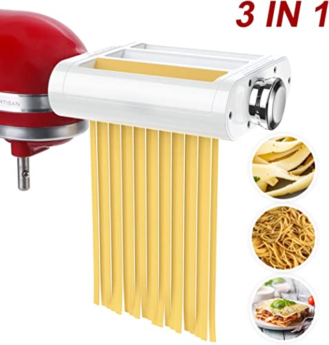 ANTREE Pasta Roller & Cutter Attachment 3-in-1 Set for KitchenAid Stand Mixers Included Pasta Sheet Roller, Spaghetti Cutter, Fettuccine Cutter product image