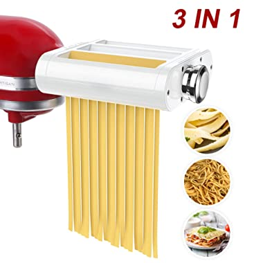 ANTREE Fettuccine Roller & Cutter Attachment 3-in-1 Set for KitchenAid Stand Mixers Included Pasta Sheet Roller, Spaghetti Cutter