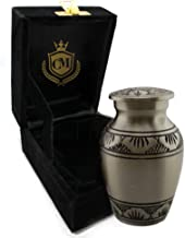 Selene Pewter - Silver 100% Brass Burial or Funeral Small Cremation Urn for Human Ashes w Velvet Bag - Small Keepsake
