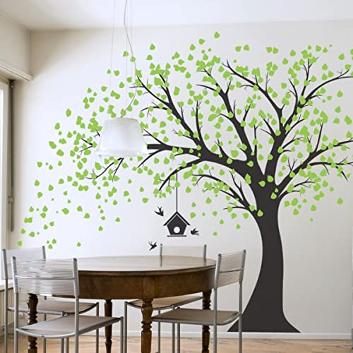 4cab6ffbbf85 Giant Black Tree Wall Decal with Green Leaves Birds And Birdcage DIY Vinyl Wall  Decal Sticker