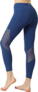 Women Mesh Leggings with Pockets Running Pants High Waist Compression Workout Gym