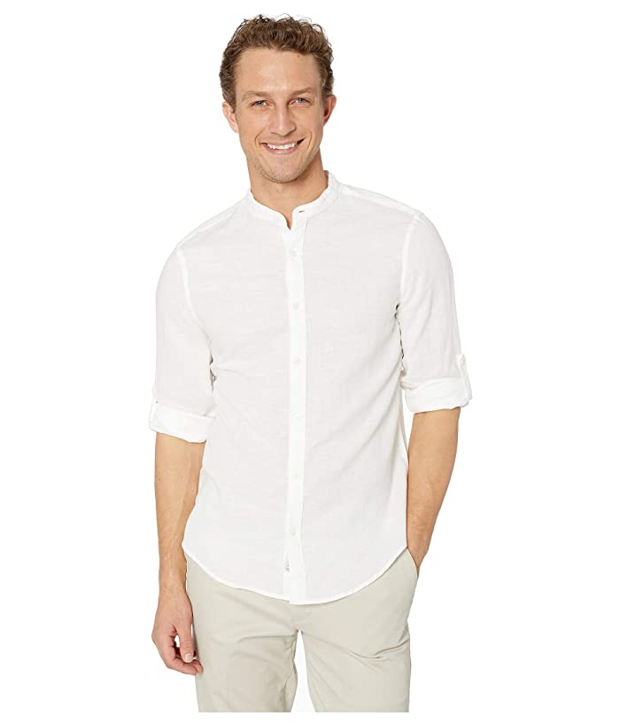 Perry Ellis  Solid Linen Cotton Rolled Sleeve Banded Collar Shirt (Bright White) Mens Clothing