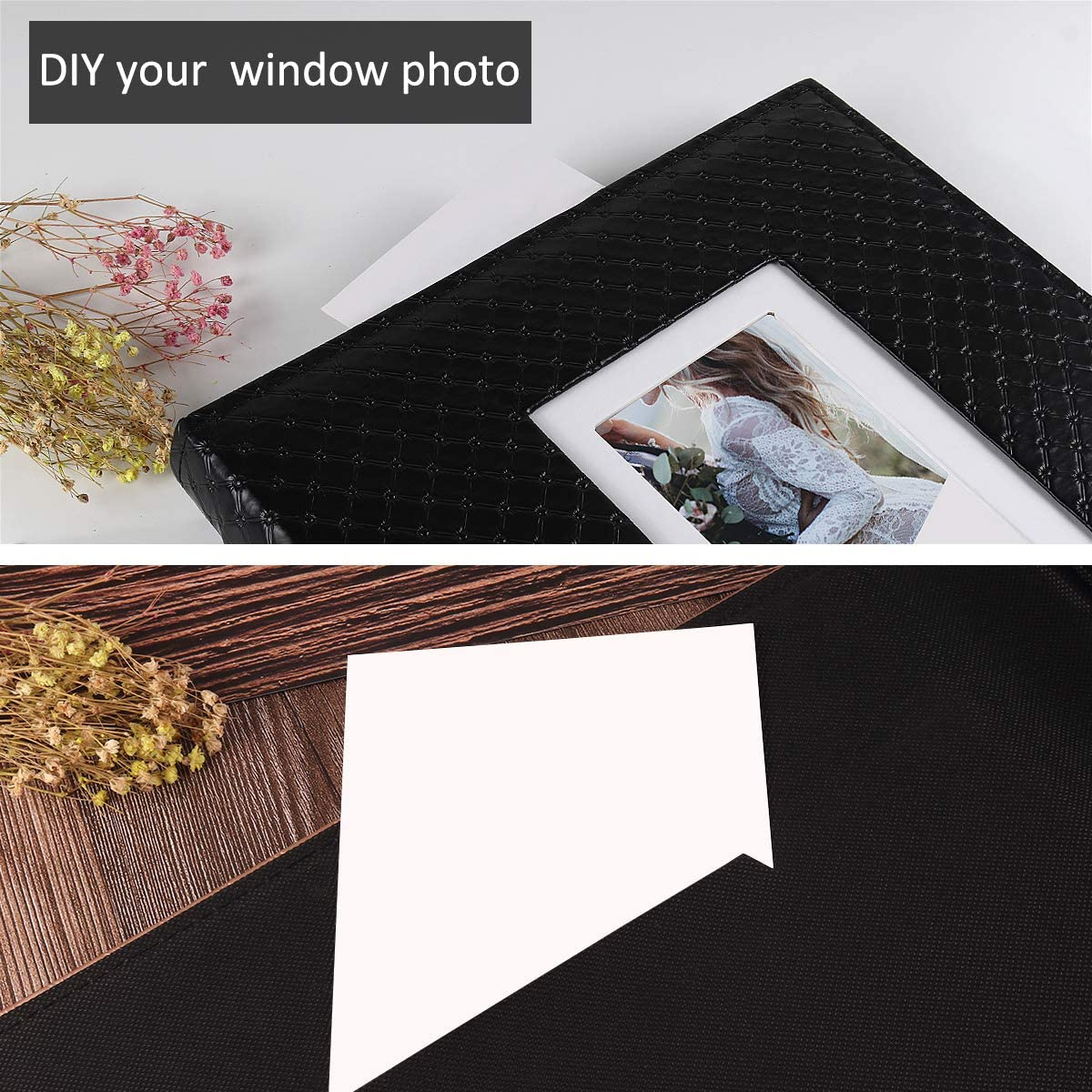Light Champagne RECUTMS Photo Album 4x6 600 Photos Black Inner Page Button Grain Leather Big Capacity Pockets Pictures Album Birthday Christmas Photo Albums Wedding Anniversary