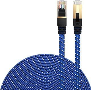 Ethernet Cable Cat 7 DanYee Flat High Speed Nylon Lan Network Patch Cable Gold Plated Plug STP Wires CAT 7 RJ45 Ethernet C...