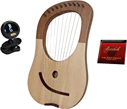 Lyre Harp Biblical King Davids Solid Spruce W/Tuning Tool + 10-String Lyre Harp Replacement Extra Strings - Steel & Nickel Wound + Snark Clip-On Chromatic Tuner