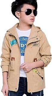 [Nana_Collection(ナナコレクション)] 秋 キッズ 子供 男の子 かっこいい フード ジッパー 上着 ジャンパー コート カーキ 140cm