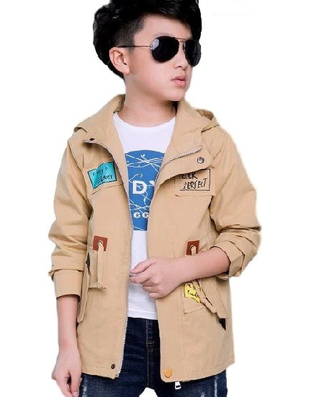 [Nana_Collection(ナナコレクション)] 秋 キッズ 子供 男の子 かっこいい フード ジッパー 上着 ジャンパー コート カーキ 120cm