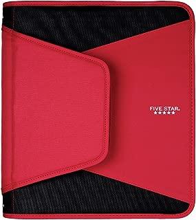 Five Star 1-1/2 Inch Zipper Binder, 3 Ring Binder, 3-Pocket Expanding File, Red (72206)